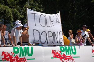 Deutsch: Transparant bei der Tour de France 2006