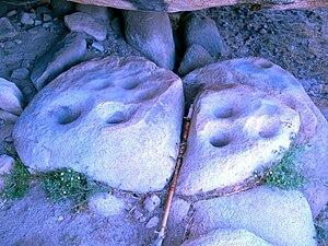 English: Photo of morteros or grinding holes i...