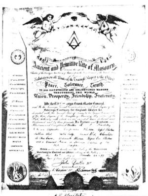 Deutsch: Das Freimaurer-Patent des Memphis-Mis...