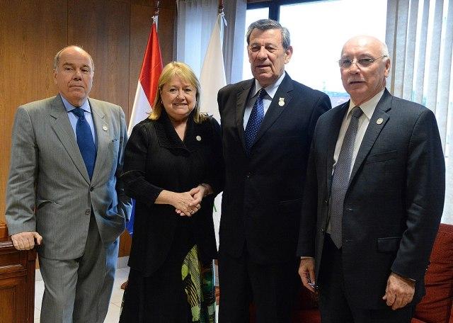 Außenminister des Mercosur Mauro Vieira (Brasilien), Susana Malcorra (Argentinien), Rodolfo Nin Ńovoa (Uruguay) Eladio Loizaga (Paraguay) (von links nach rechts)