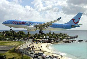 English: Corsair Airbus A330-200 landing at th...