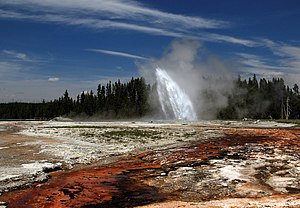 Daisy Geyser erupting in Yellowstone National Park