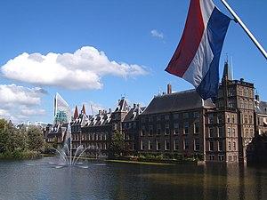 Binnenhof, Hofvijver and flag of the Netherlan...