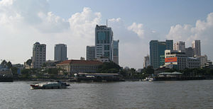 Downtown Ho Chi Minh City seen from Saigon River