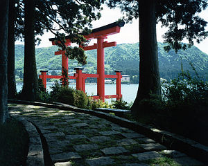 Torii of the shrine in Hakone, at Lake Ashi