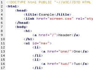 Un ejemplo de código HTML con coloreado de sintaxis
