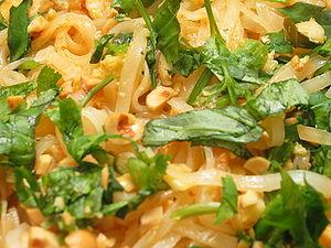 Closeup of pad Thai, a Thai dish made from ric...