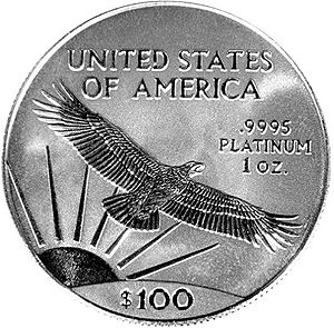 The reverse of an American Platinum Eagle bull...