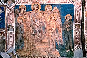 Cimabue: Vergine in Maestà, con Bambino, quatt...