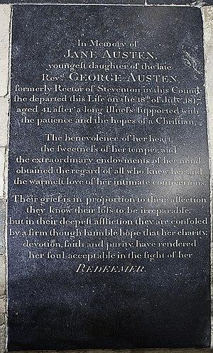 English: Jane Austen's memorial gravestone in ...