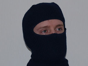 Author wearing balaclava covering all of the h...