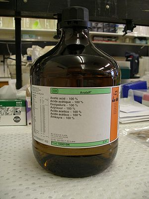 2.5-litre bottle of acetic acid in a laborator...