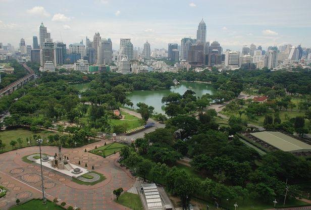 Aerial view of Lumphini Park