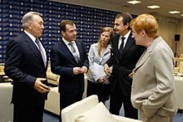 Nazarbayev with President of Russia Dmitry Medvedev, President of Finland Tarja Halonen and Prime Minister of Spain José Luis Rodríguez Zapatero in 2011
