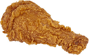 English: A piece of fried chicken from the fas...