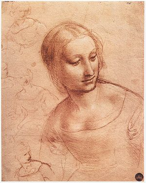 Red chalk and silverpoint on rose-colored prep...