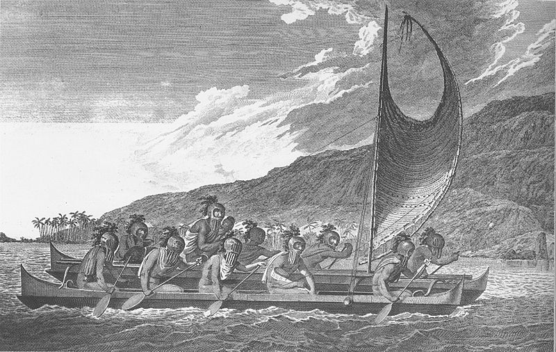 Ancient Polynesians traveling by sail and by oar