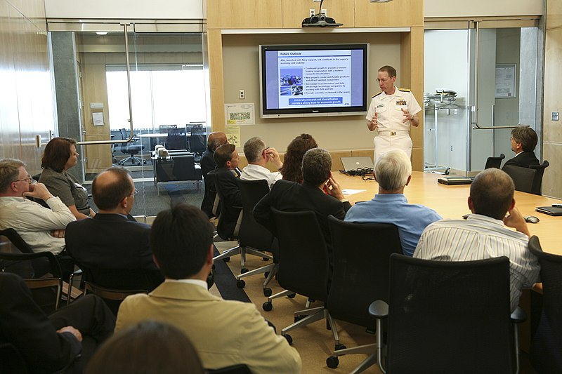 File:US Navy 080806-N-3271W-063 Rear Adm. James A. Symonds, Commander, Navy Region Northwest, speaks to the faculty of the Applied Science Lab at Washington State University Spokane.jpg