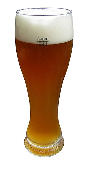 A wheat beer glass