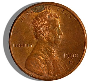 Obverse side of a 1990 issued US Penny. Pictur...