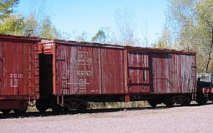 English: Duluth box car number 18052 on displa...
