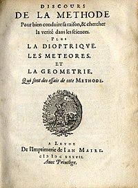 Title page of the first edition of René Descartes' Discourse on Method.