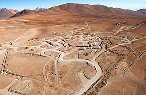 Aerial view of the ALMA construction site.