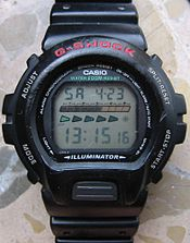 A well-used Casio G-Shock DW-6600 solar-powered watch
