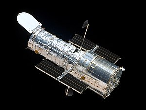 English: The Hubble Space Telescope as seen fr...