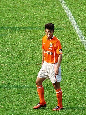 Shandong Luneng striker Han Peng in Yuexiushan...