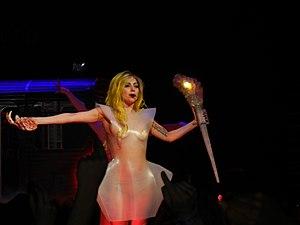 English: Lady Gaga performing LoveGame at Nash...
