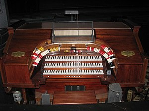 English: 3-Manual, 8-Rank, Robert-Morton Organ.