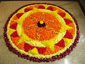 The pookalam during Onam. Onam is the traditio...