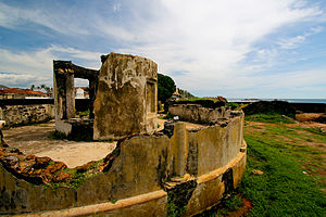 English: Ancient canon mount in Galle fort, Sr...