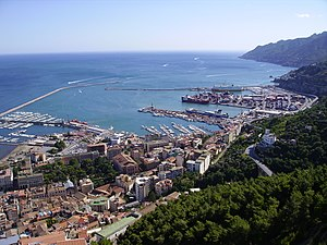 The ports of Salerno; views from castle of Are...