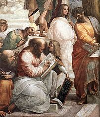 Pythagoras, the man in the center with the boo...