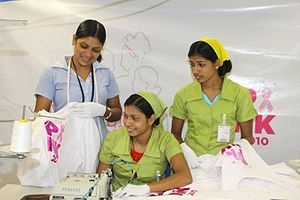 English: Three female Sri Lanka garment workers.
