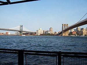 Description: View of Brooklyn and Manhattan Br...