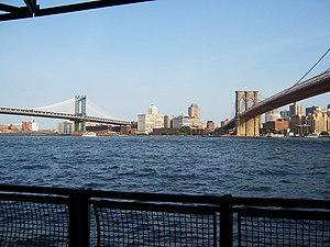 Description: View of Brooklyn and Manhattan Br...