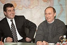 Medvedev with Vladimir Putin on 27 March 2000 the next day following Putin's victory in the presidential election.