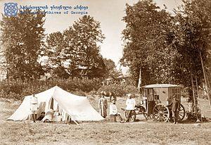 D. Yermakov. Portable telegraph unit at Ozurge...