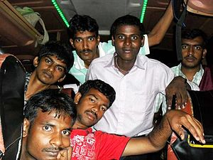 English: A Group Of Indian Teenagers In Bus Fo...