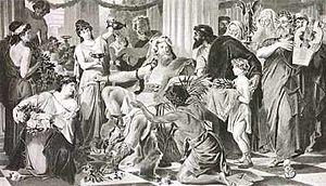 Alarico I, reproducción fotográfica de 1894 de una pintura de Ludwig Thiersch.