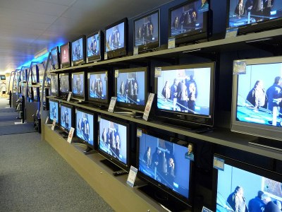 An array of different televisions.