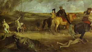 Allegorical painting representing suffering of...