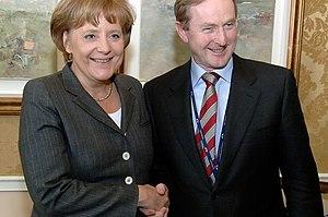Enda Kenny shakes the hand of German Chancellor Angela Merkel in April 2008