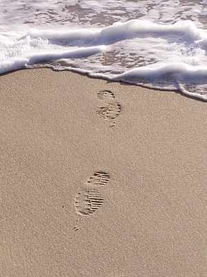Footprints in sand. Marinha Grande, Portugal.