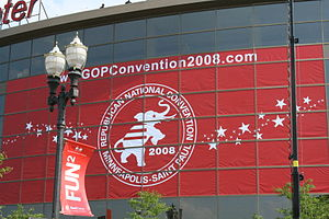 A banner outside of the 2008 Republican Nation...