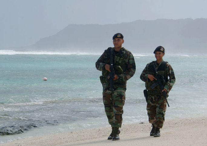 Guam Air National Guard airmen patrol beach 2006