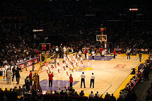 Cheerleaders perform at during a LA Lakers gam...